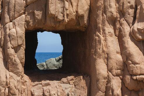 Italy, Sardinia, Tortoli, red rocks of Arbatax, cliffs of red Porphyry - JBF000221