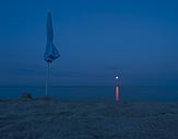 Italy, Sardinia, Tortoli, moonrise over Mediterranean Sea - JBF000230