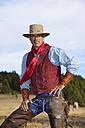 USA, Wyoming, portrait of a cowboy - RUEF001363