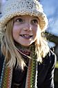 Portrait of girl wearing wool cap - MGOF000007
