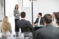 Businesswoman in boardroom leading a meeting with flip chart - ZEF003159