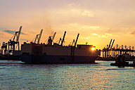 Germany, Hamburg, Port of Hamburg, Container Terminal, container cranes and ship at sunset - KRPF001275