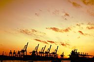 Germany, Hamburg, harbour, cranes at Elbe river at sunset - KRPF001276