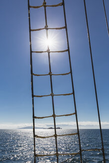Pacific Ocean, rope ladder of a sailing ship at Galapagos Islands - FOF007549