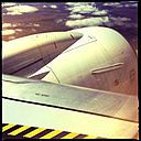 jet, airplane, wing, sign no step, clouds, stripes, aerial view, northern territory, australia - LUL000076