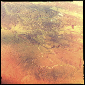 billabong, dry river crossing, outback, aerial view, northern territory, australia - LUL000079