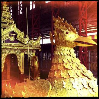 traditional ship in bird shape, The Ngaphe Chaung Monastery, inle lake, myanmar - LUL000214