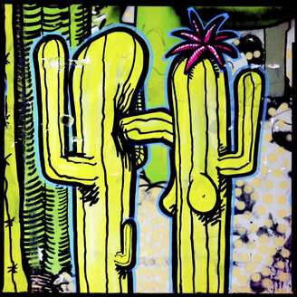 man, woman, spray paint, beating up, hit, face, cactus, errection, breast, fight, male vs female, street art, friedrichshain, kreuzberg, berlin, germany - LUL000160