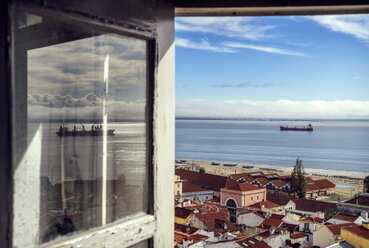Portugal, Lisbon, view of Alfama neighborhood and River Tejo through open window - EHF000063