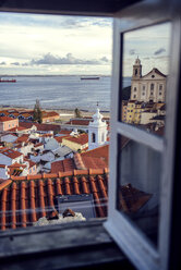 Portugal, Lisbon, view of Alfama neighborhood and River Tejo through open window - EHF000067