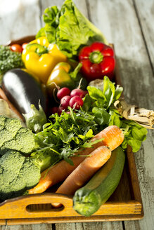 Wooden tray with different vegetables - MAEF009372