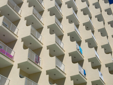 Spain, Baleares, Mallorca, rows of balconies of a hotel - AMF003588