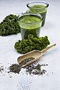 Two glasses of kale smoothie and chia seeds - LVF002618