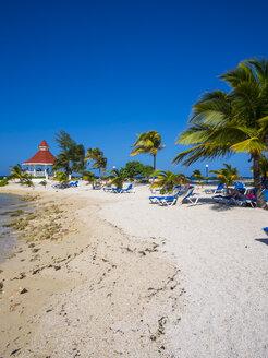Jamaica, Runaway Bay, beach with pavilion - AMF003598