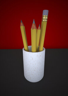 Cup of pencils and paint brush, 3D Rendering - ALF000285