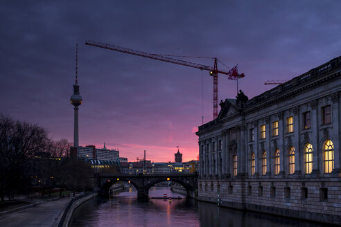 Germany, Berlin, television tower and lighted Bode Museum at twilight - BIGF000054