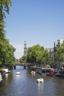 Netherlands, County of Holland, Amsterdam, Prinsen Canal and bridge, Westerkerk in the background - GW003737