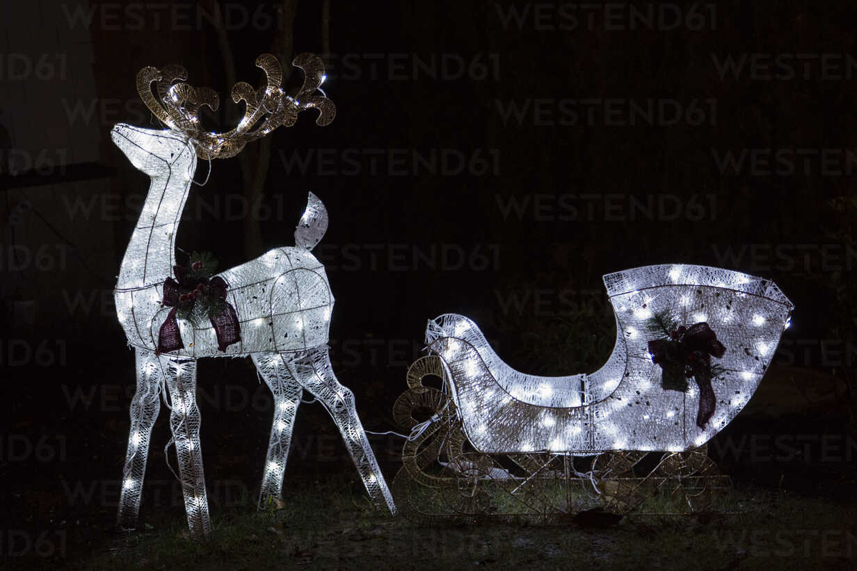 Canada, Vancouver, Christmas illuminations, Reindeer sleigh - NGF000187 - Nadine Ginzel/Westend61