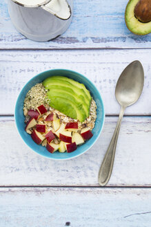 Bowl of avocado apple muesli with hemp seeds - LVF002643