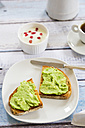 Bread with avocado cream, yogurt with pomegranate seeds and cup of coffee - LVF002662