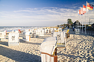 Germany, Baltic Sea, Dahme, beach chairs on beach - KRPF001287