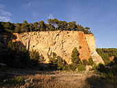 Spain, Catalonia, landscape with trees on cliff - JMF000320