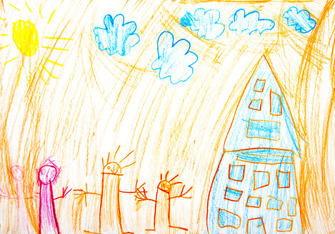 Child's drawing, House and children - WWF003393