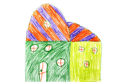 Child's drawing, colorful houses - WWF003395