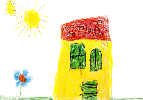 Child's drawing, Colorful house, flower and sun - WWF003398
