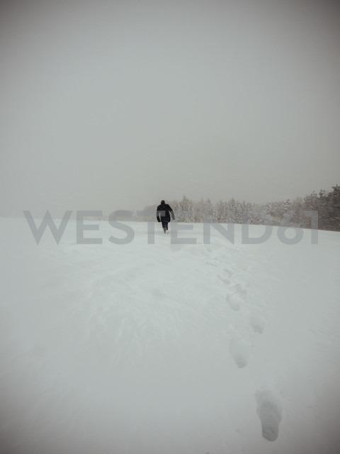 Germany, Black Forest, man walking in snow, in stormy weather - KRP001261 - Kristian Peetz/Westend61