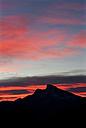 Austria, Upper Austria, Salzkammergut, Mondsee, View to Schafberg, red sky - WWF003450