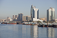 UAE, Dubai, Dhow harbor and skyscrapers at Dubai Creek - PCF000026