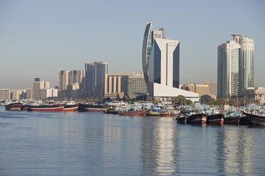 UAE, Dubai, Dhow harbor and skyscrapers at Dubai Creek - PCF000026
