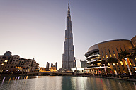 UAE, Dubai, view to Burj Khalifa at twilight - PCF000037