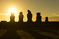 Easter Island, Hanga Roa, Sunset with five Moai in the Tahai Ceremonial Complex, archaeological site - GEMF000015
