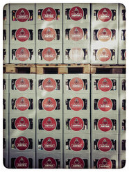 Germany, Stacked beer crates on pallets - KRP001240