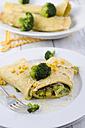 Stuffed pancake with brokkoli, corn and grated cheese on plate - ODF001092