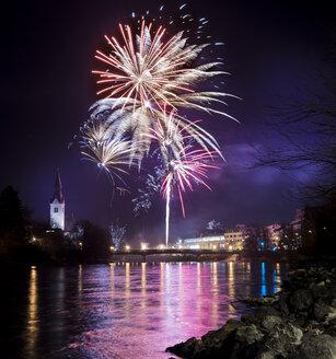 Austria, Tyrol, Schwaz, New Year's Eve fireworks - MKFF000153