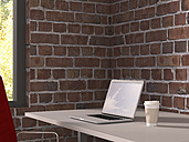Desk with laptop  and coffee to go, 3D Rendering - UWF000353