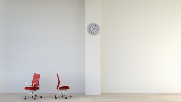 White room with two red office chairs and a wall clock, 3D Rendering - UWF000355