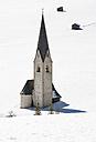 Austria, East Tyrol, Kals am Grossglockner, snow-capped St. George Church - WWF003595