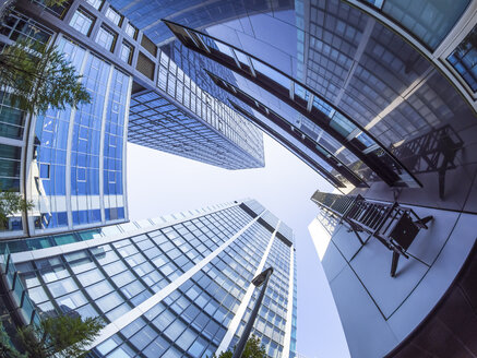 Germany, Hesse, Frankfurt, Commerzbank and Hessische Landesbank, low angle view - AMF003698