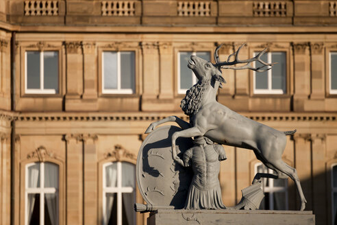 Germany, Stuttgart, Palace Square, deer figurine and New Castle in the background - PC000058