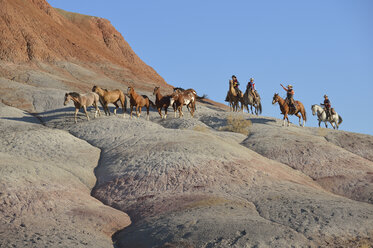 USA, Wyoming, cowboys and cowgirls herding horses in badlands - RUEF001460