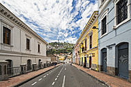 Ecuador, Quito, Old town with a view of the Virgin of Quito at El Panecillo - FOF007647