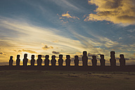 Chile, Easter Island, row of moais at Ahu Tongariki at sunrise, Rapa Nui National Park - GEMF000200