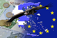 Vulture over Euro notes and coins and Greece flag - AMF003723