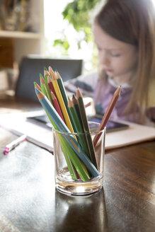 Glass of coloured pencils - SARF001302