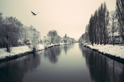 Germany, Landshut, Isar River in winter - SARF001309