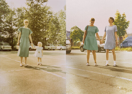 Mother and daughter in now and then photos, standing hand in hand in parking lot - MFF001476